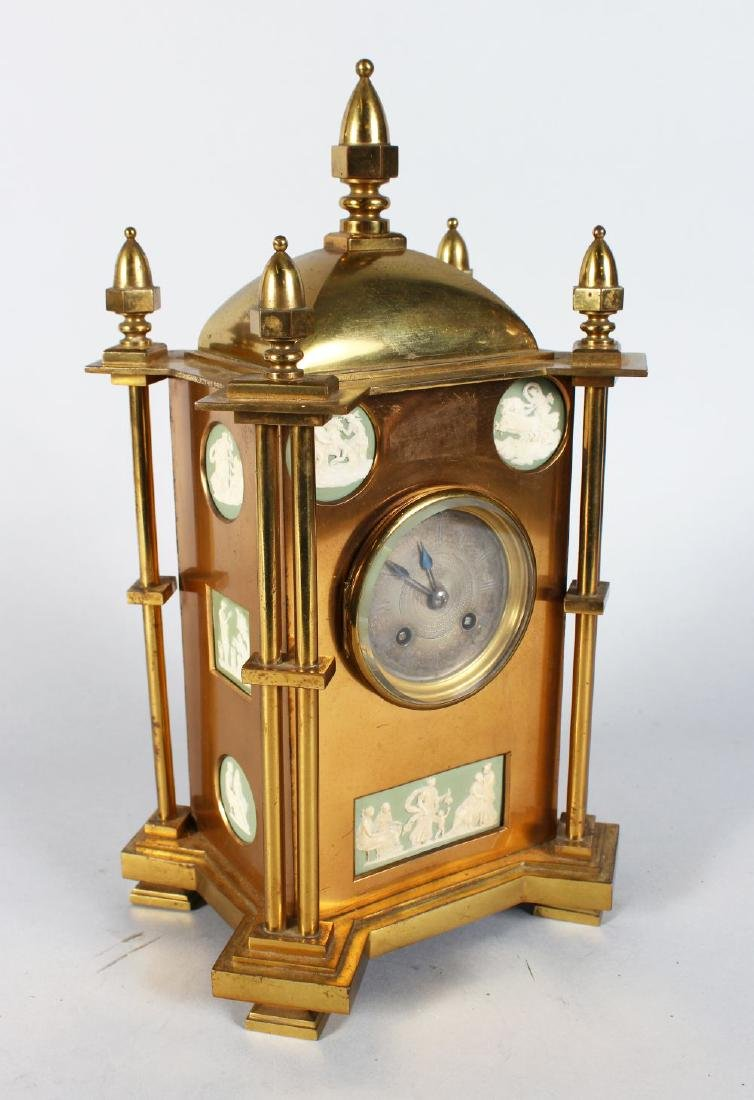 A GOOD 19TH CENTURY GILDED MANTLE CLOCK, with silvered