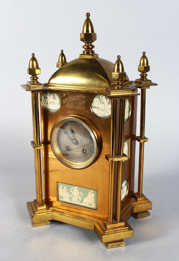 A GOOD 19TH CENTURY GILDED MANTLE CLOCK, with silvered - 2