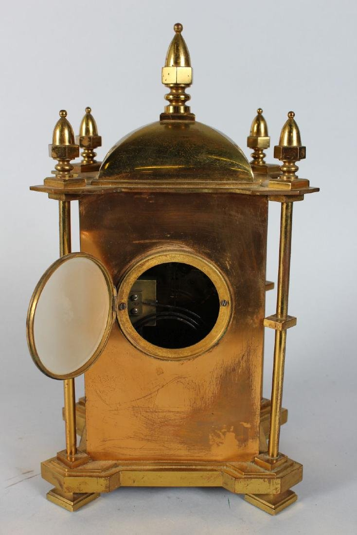 A GOOD 19TH CENTURY GILDED MANTLE CLOCK, with silvered - 4