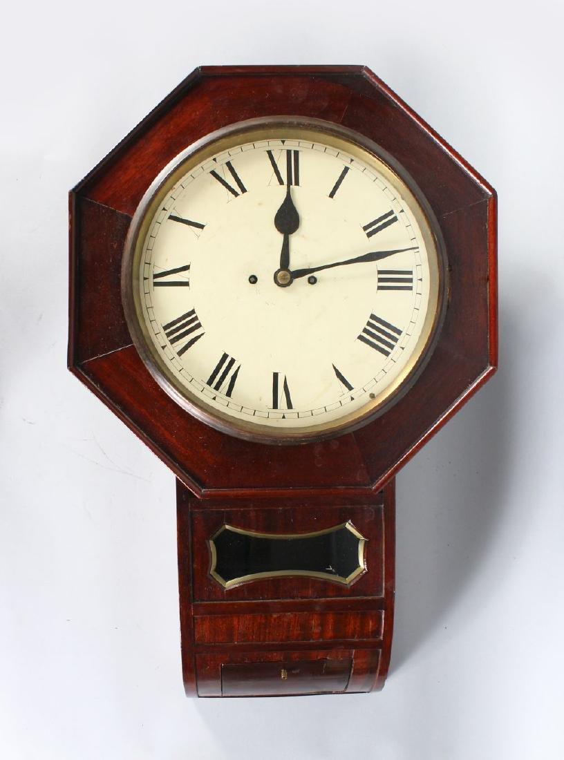 A 19TH CENTURY MAHOGANY DROP CASE FUSEE WALL CLOCK with