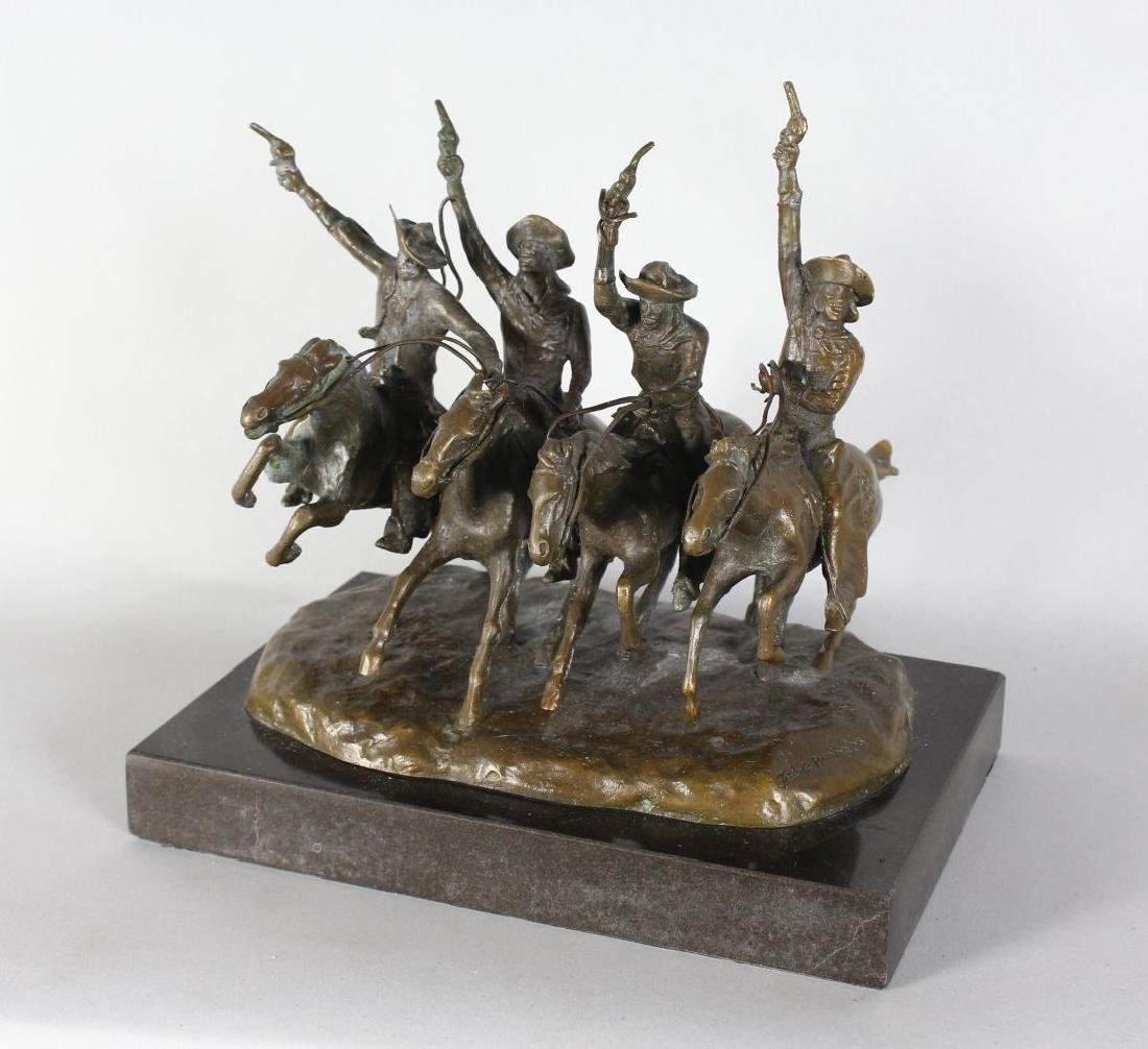 AFTER FREDERIC REMINGTON  A BRONZE GROUP OF FOUR