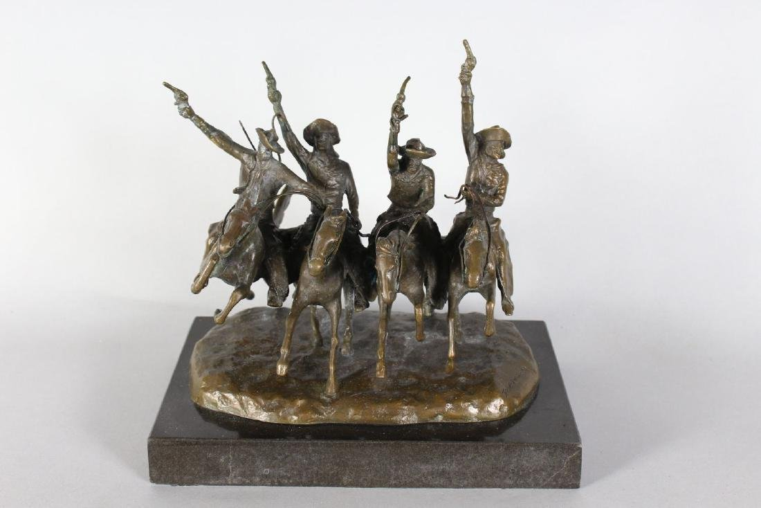 AFTER FREDERIC REMINGTON  A BRONZE GROUP OF FOUR - 2
