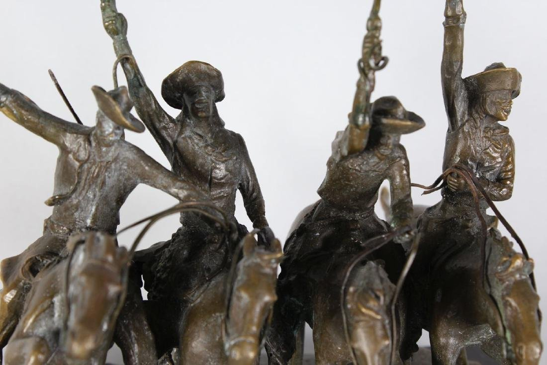 AFTER FREDERIC REMINGTON  A BRONZE GROUP OF FOUR - 3