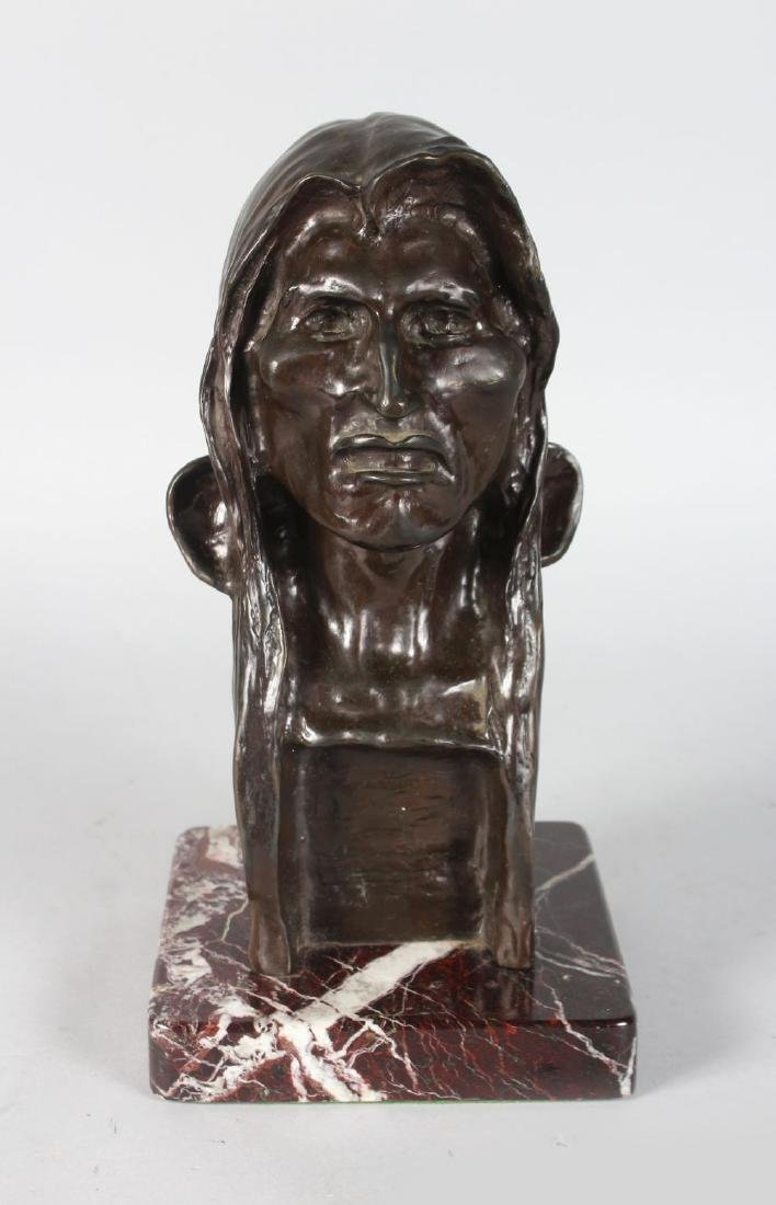 """AFTER FREDERIC REMMINGTON  THE """"SAVAGE"""".  A BRONZE BUST"""