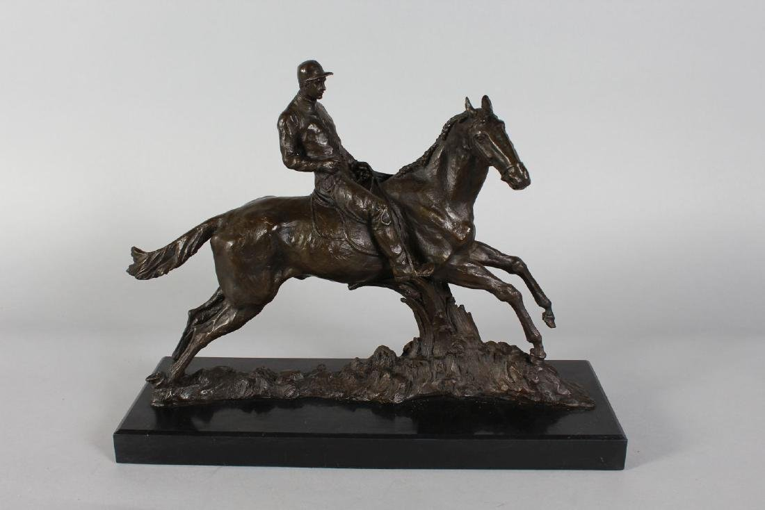 A BRONZE HORSE AND JOCKEY.  Signed, on a rectangular - 2