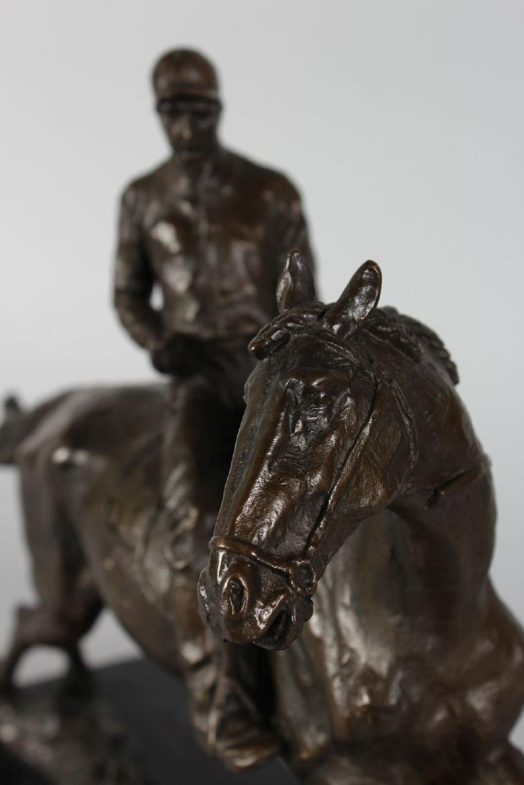 A BRONZE HORSE AND JOCKEY.  Signed, on a rectangular - 3