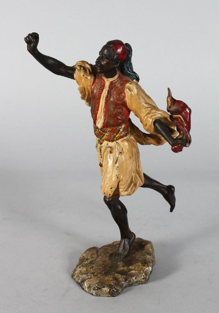 A SUPERB PERIOD VIENNA COLD PAINTED BRONZE of a man