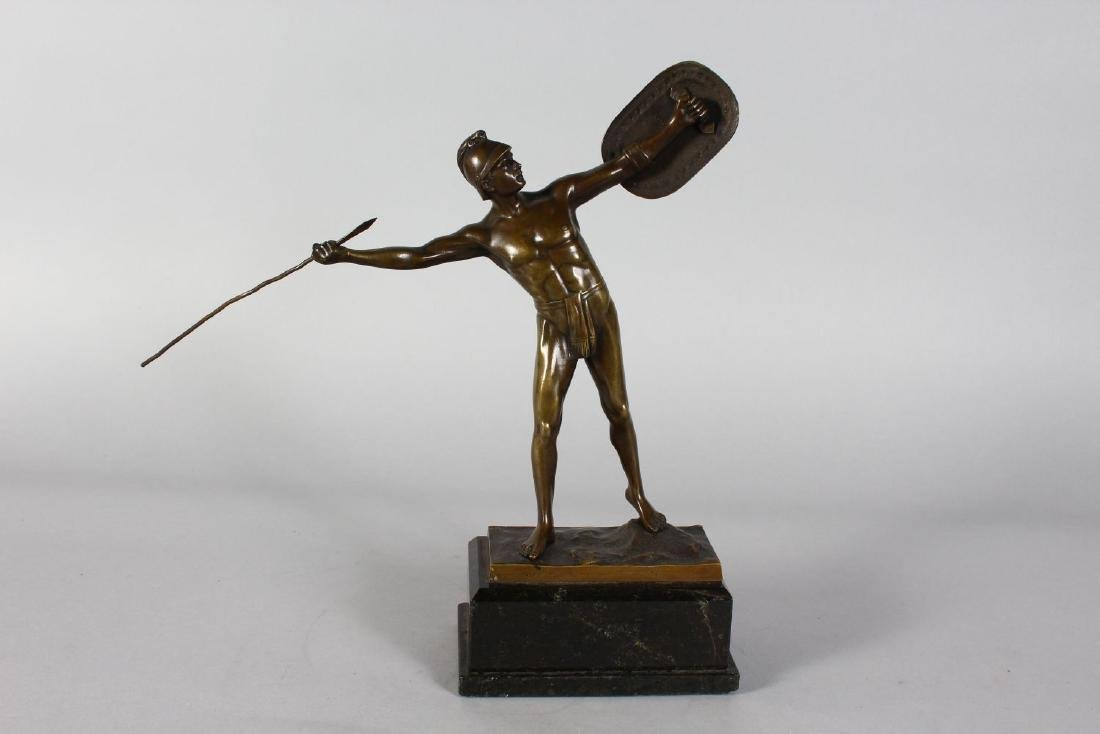 A BRONZE OF A ROMAN FIGURE throwing a javelin  stnding - 2