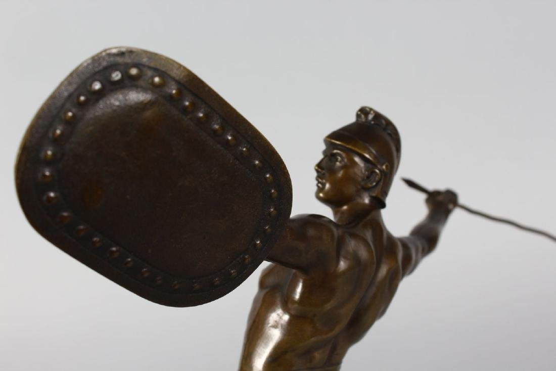 A BRONZE OF A ROMAN FIGURE throwing a javelin  stnding - 3