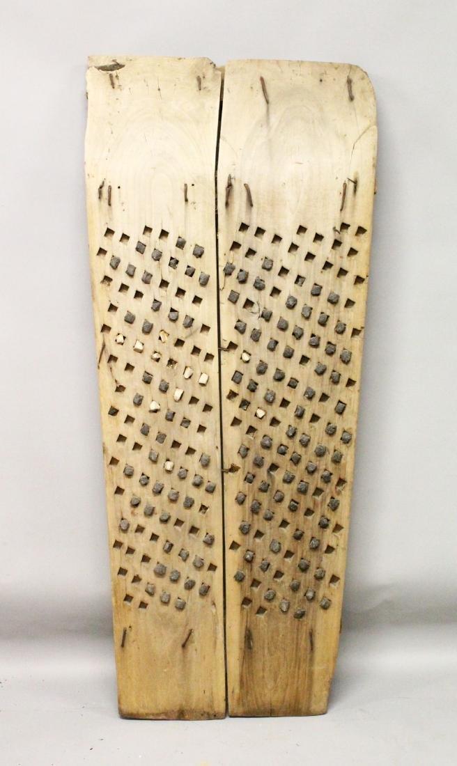 AN EARLY TURKISH 19TH CENTURY THRESHING BOARD, wood and