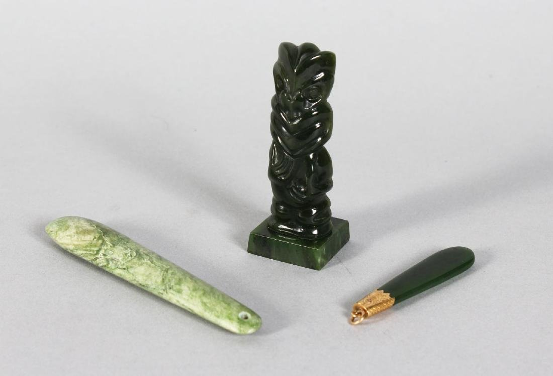 MAORI 20th CENTURY TEKO TEKO JADE CARVING, TOGETHER