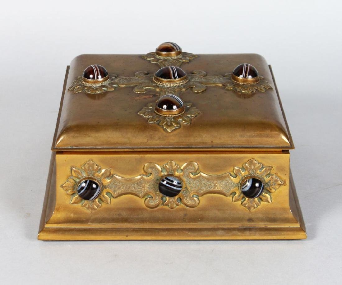 A SUPERB EDWARDS & ROBERTS BRONZE CASKET inset with a