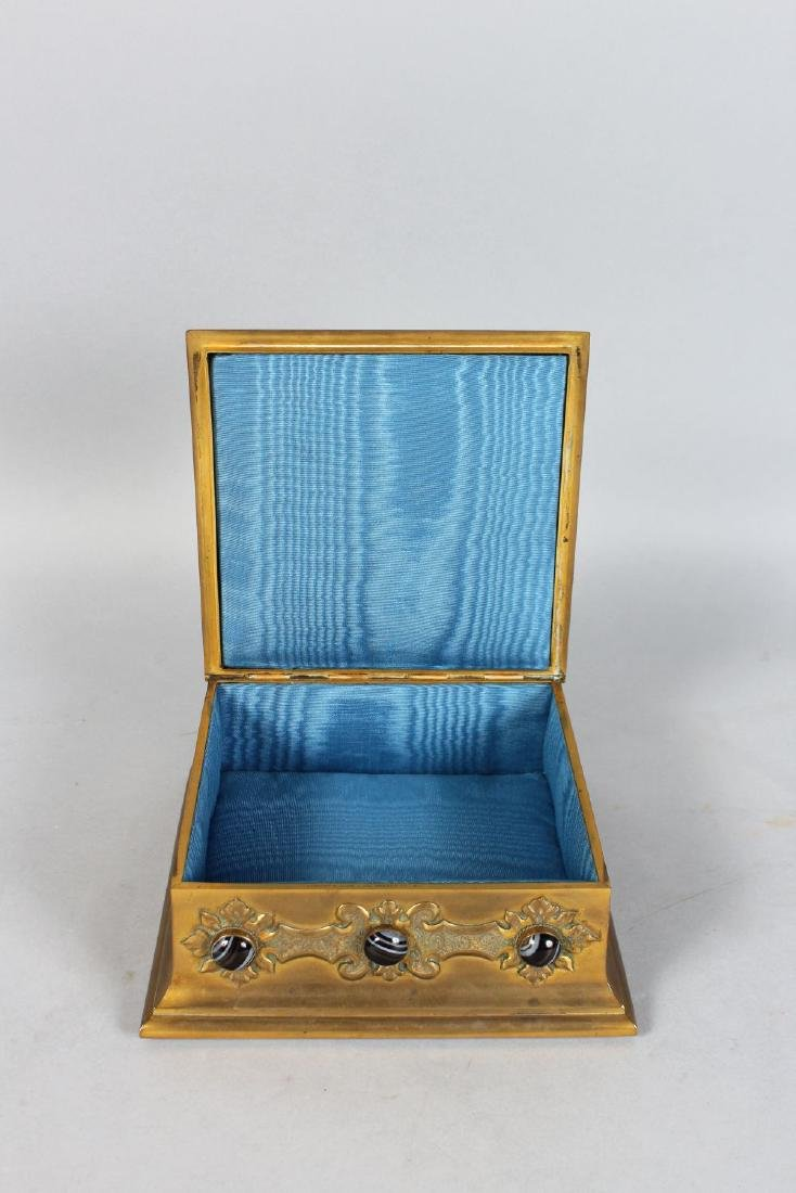 A SUPERB EDWARDS & ROBERTS BRONZE CASKET inset with a - 2