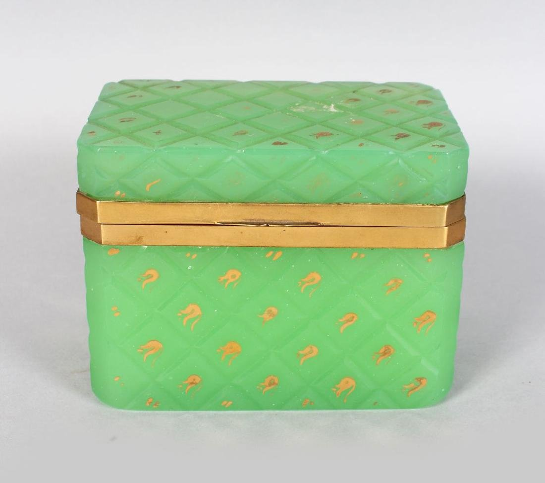 A GOOD FRENCH GREEN GLASS CASKET with gilt decoration