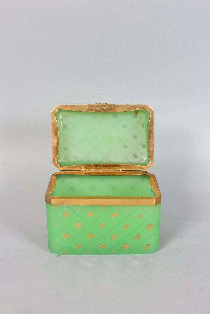 A GOOD FRENCH GREEN GLASS CASKET with gilt decoration - 2