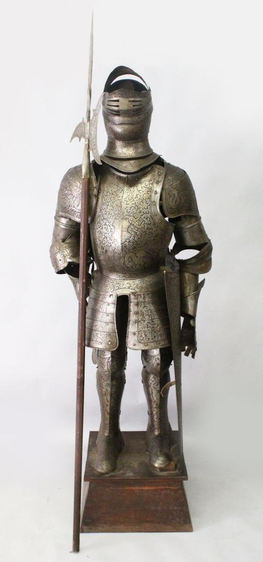A 19TH/20TH CENTURY SUIT OF ARMOUR, with halberd and