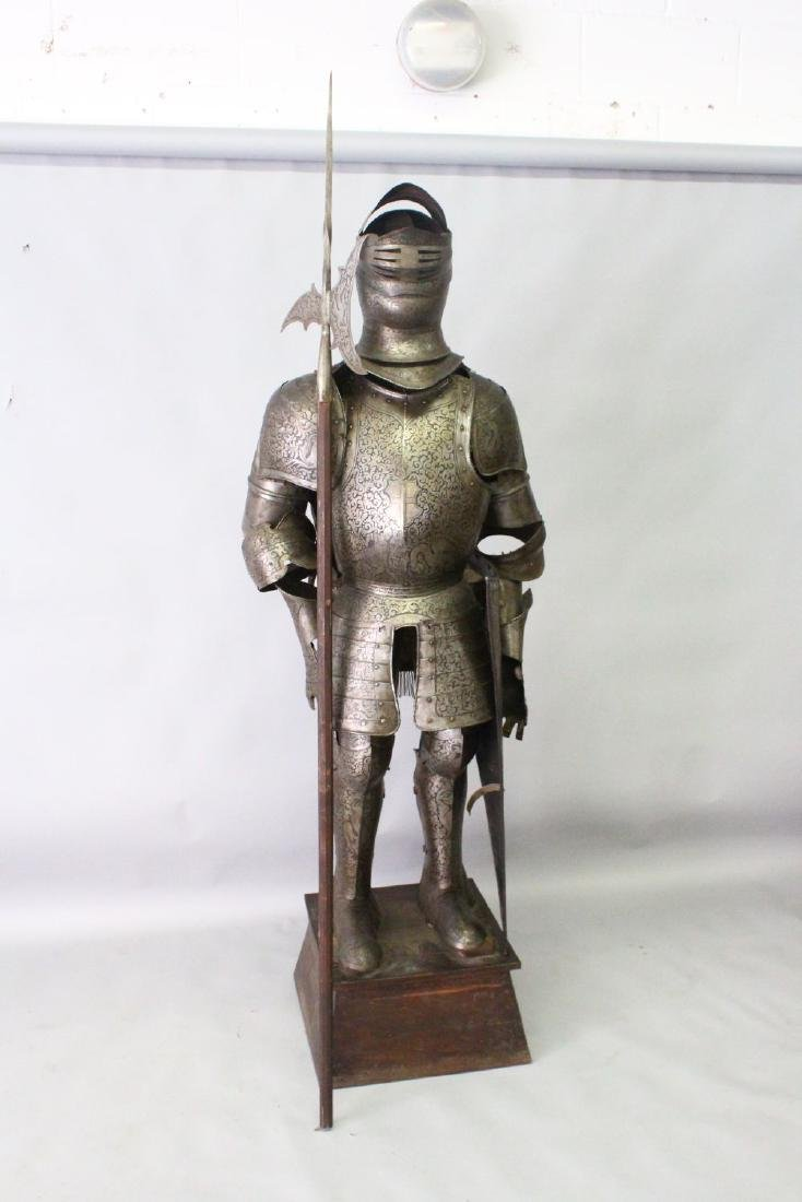 A 19TH/20TH CENTURY SUIT OF ARMOUR, with halberd and - 2