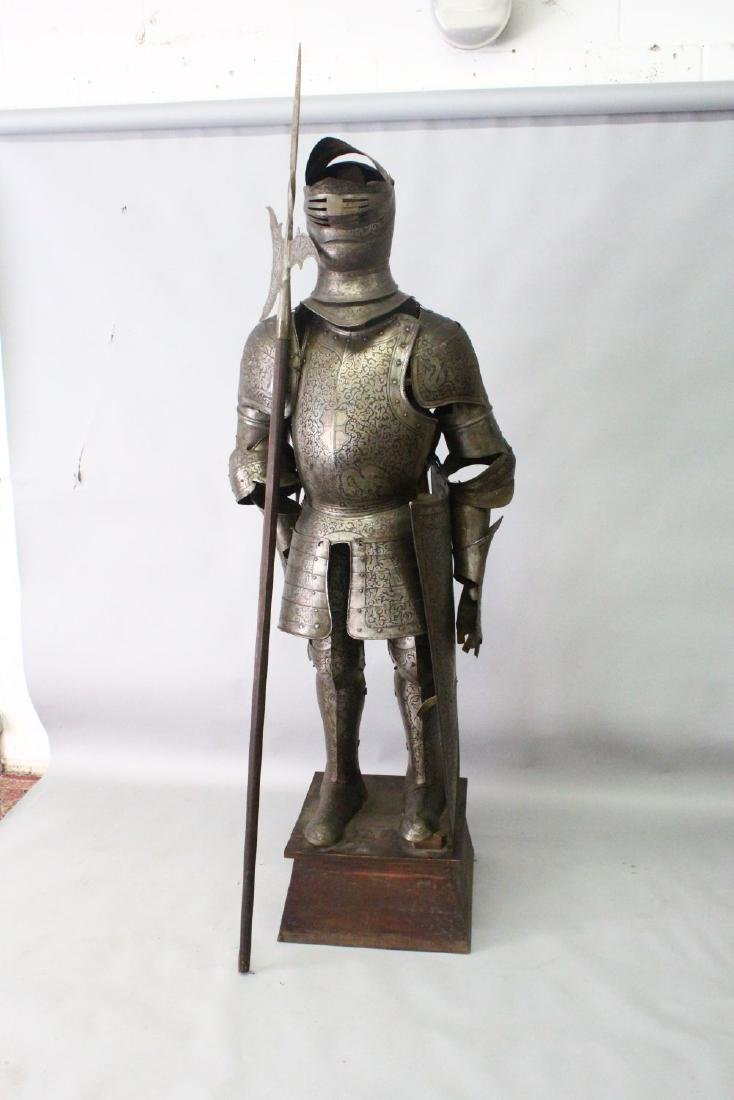A 19TH/20TH CENTURY SUIT OF ARMOUR, with halberd and - 3