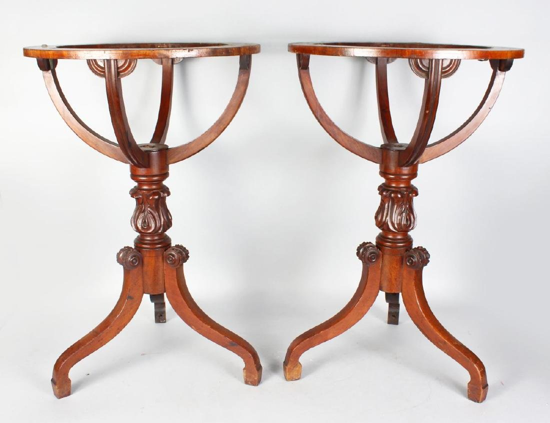 A PAIR OF 19TH CENTURY MAHOGANY TABLE GLOBE STANDS,