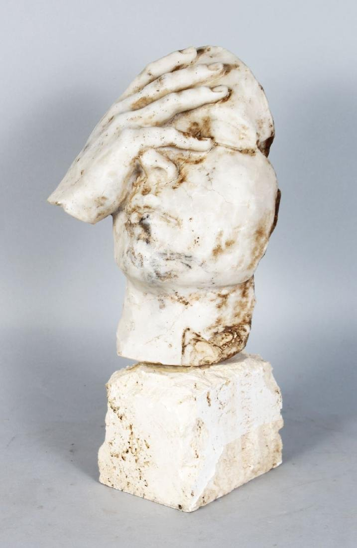 AN UNUSUAL 20TH CENTURY CARVED MARBLE ABSTRACT GROUP,