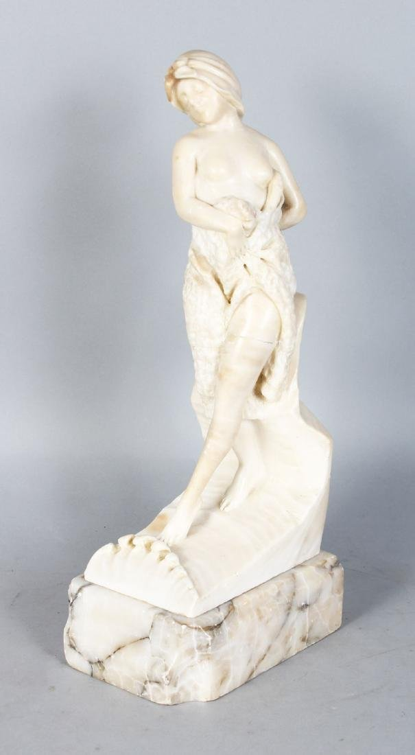 A GOOD EARLY 20TH CENTURY ALABASTER CARVED FIGURE of a