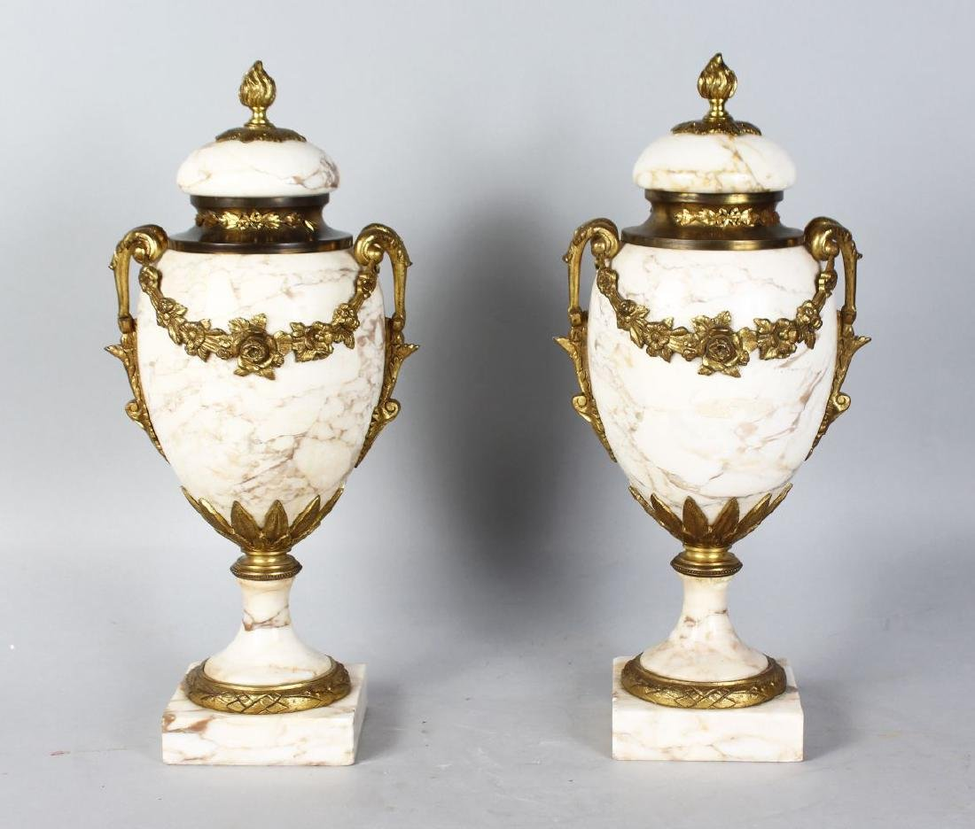 A GOOD PAIR OF 19TH CENTURY MARBLE AND ORMOLU URNS AND