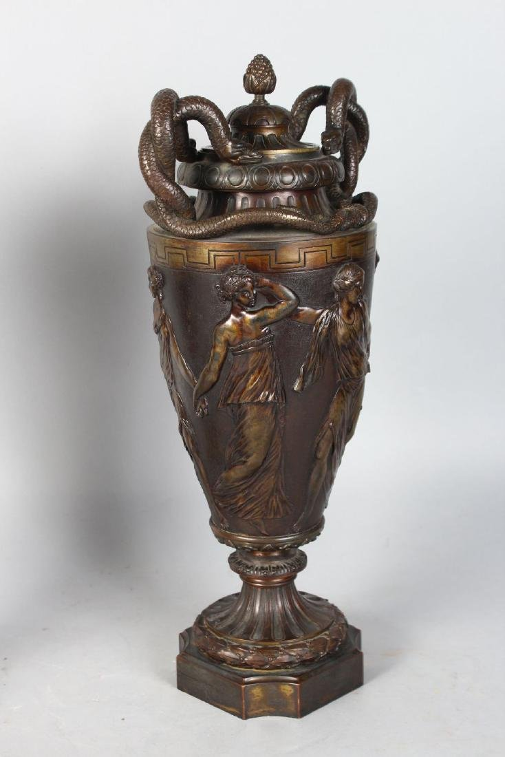 A GOOD PAIR OF 19TH CENTURY BRONZE URNS AND COVERS, - 3