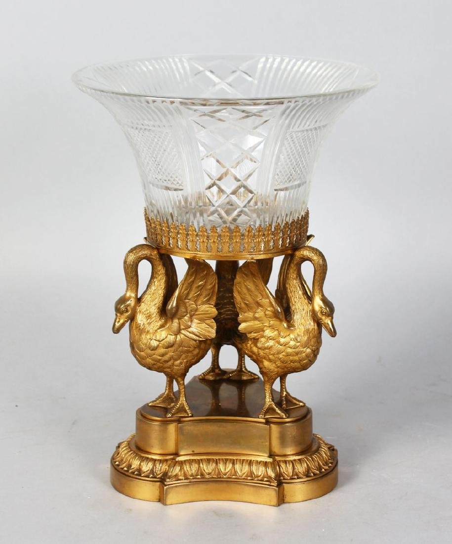 A 19TH CENTURY ORMOLU AND CUT GLASS CENTREPIECE, with