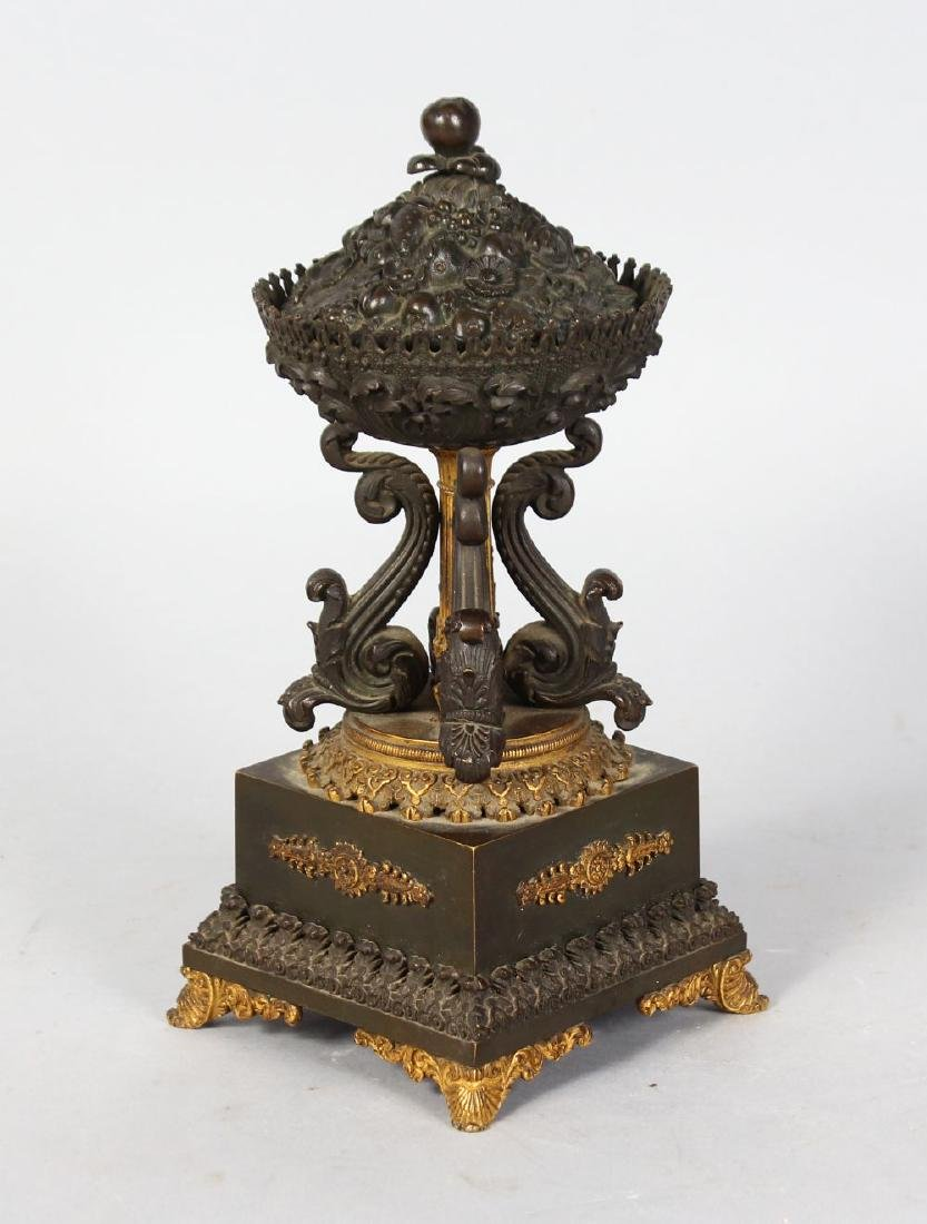A SMALL FRENCH EMPIRE BRONZE BELL, in the form of a