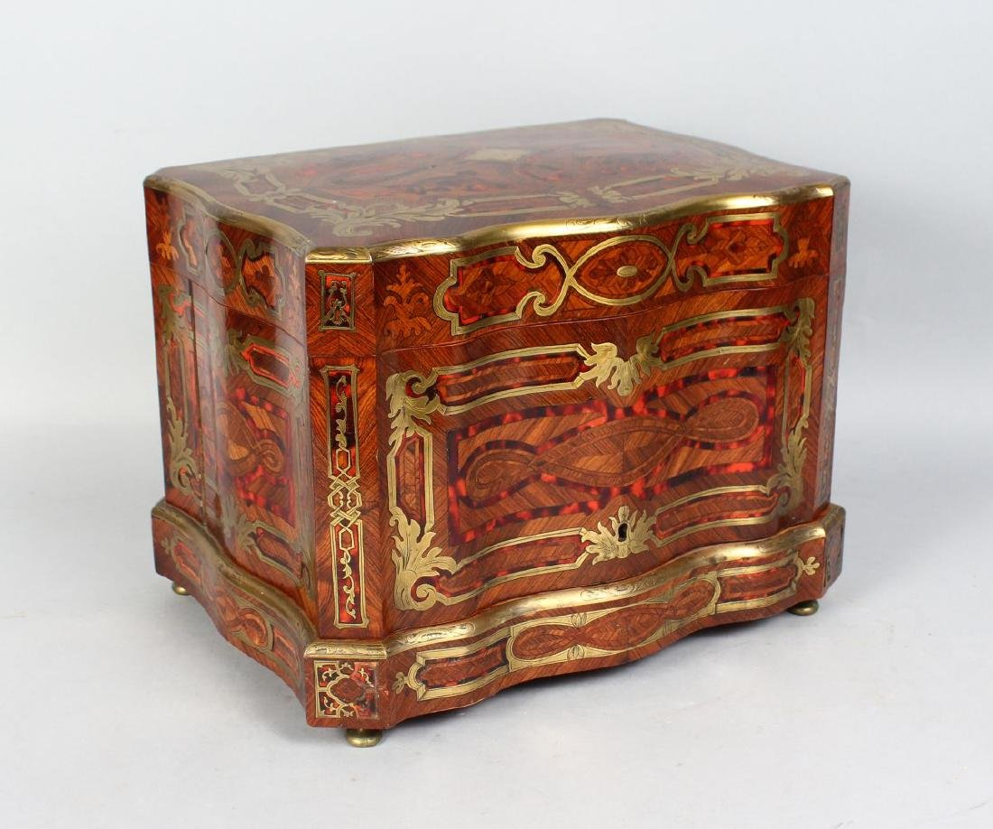 A VERY GOOD 19TH CENTURY FRENCH KINGWOOD, TORTOISESHELL - 4