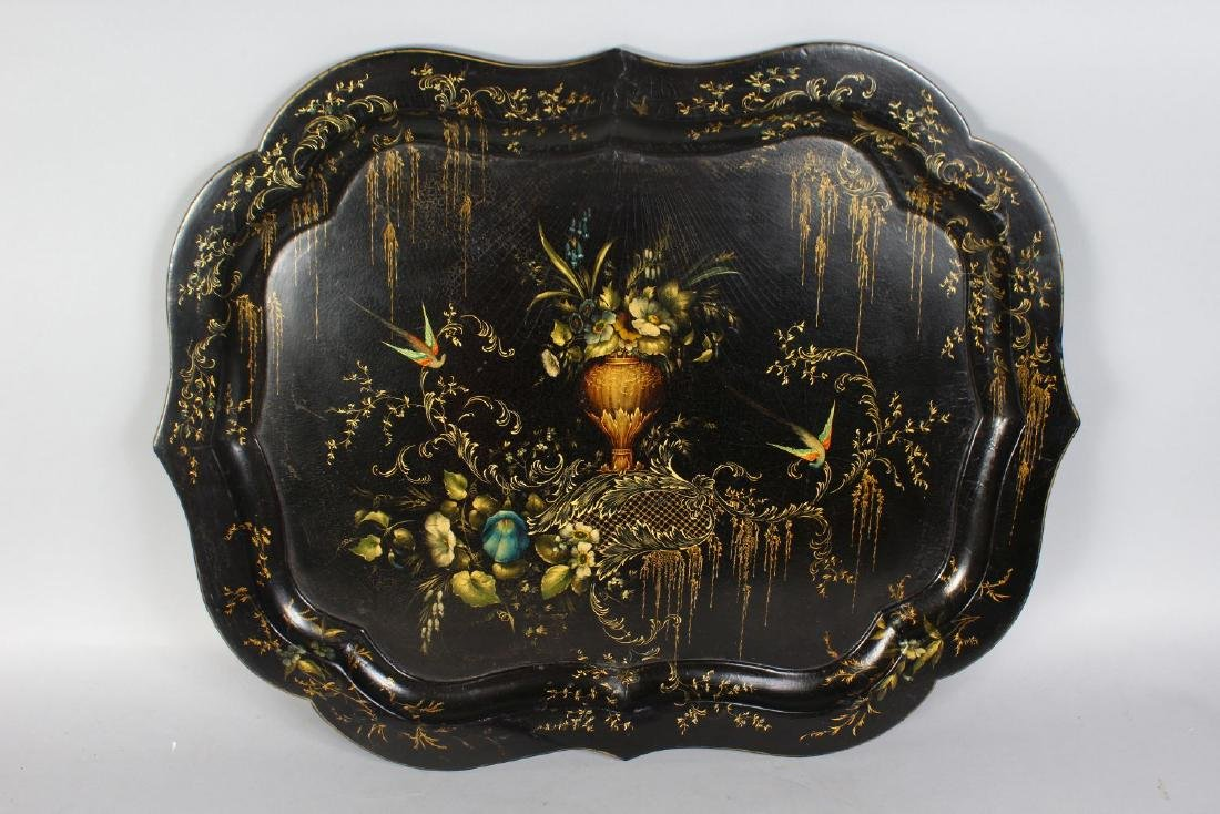 A REGENCY DESIGN PAPIER MACHE TRAY ON STAND, with - 2