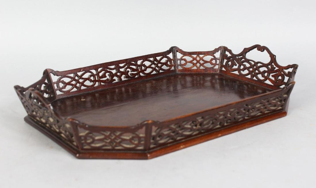 A GOOD SMALL GEORGE III DESIGN MAHOGANY TRAY, with