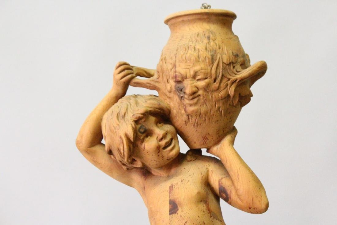 A CARVED PINE FIGURAL LAMP, modelled as a young boy - 2