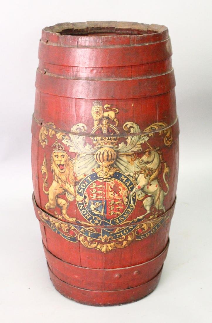 A PAINTED BARREL SHAPE STICK STAND, with armorial