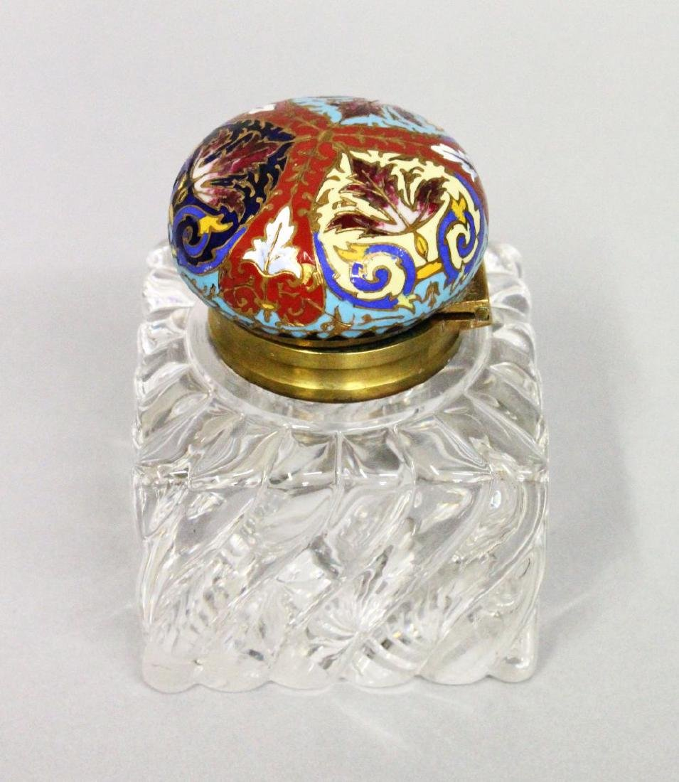 A HEAVY SQUARE INKWELL with champleve enamel top.