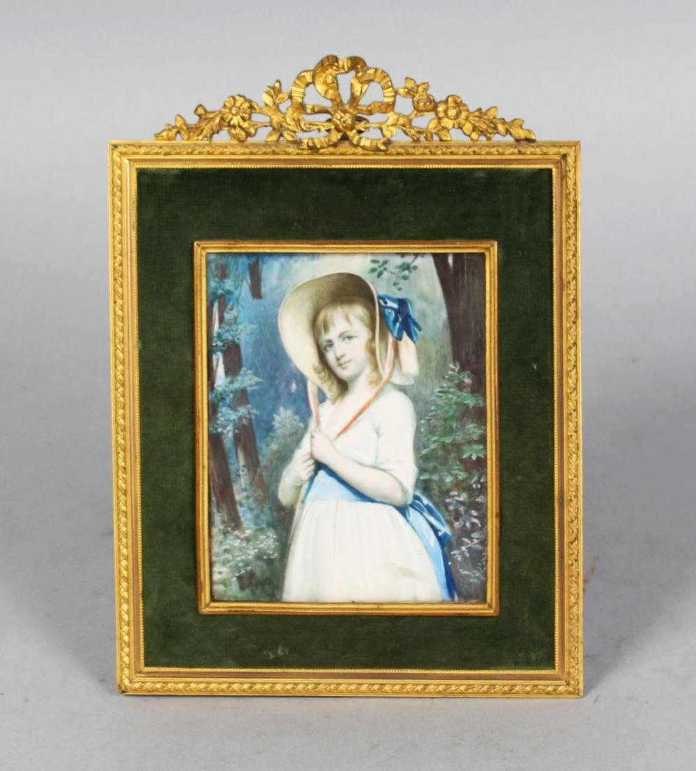AFTER REYNOLDS, A PORTRAIT MINIATURE OF A YOUNG GIRL in