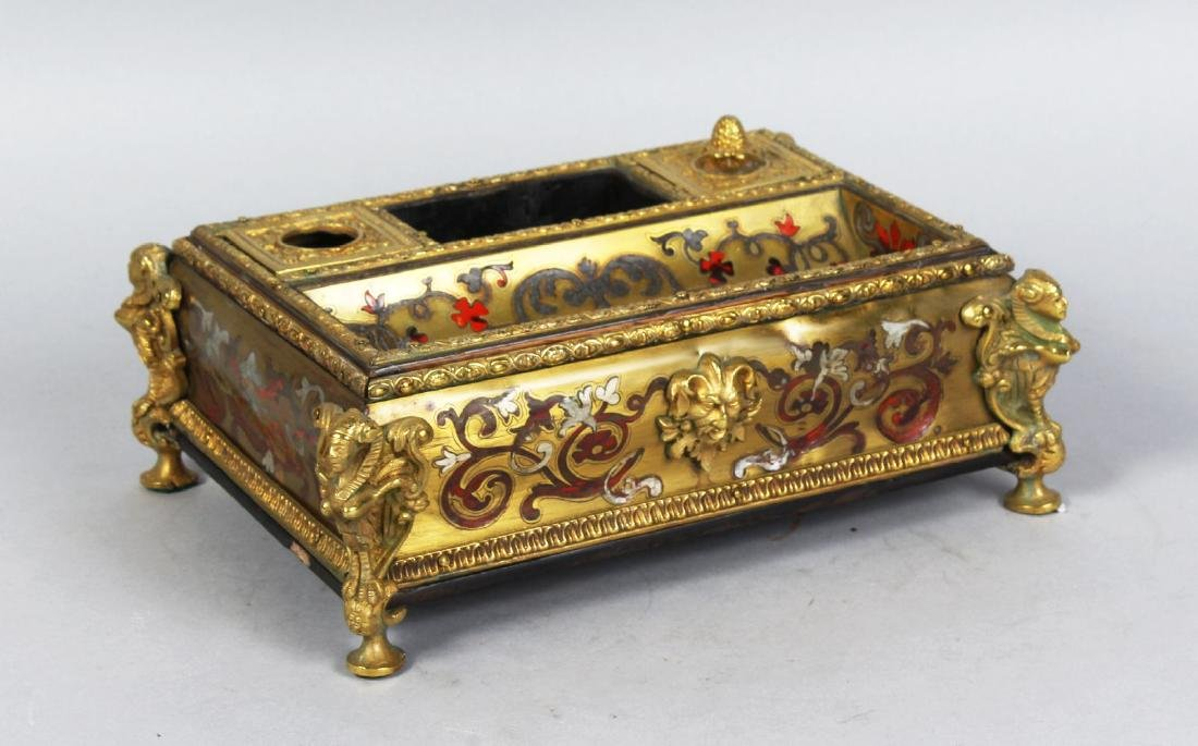 A VERY GOOD FRENCH BOULLE TABLE INKSTAND, with two ink