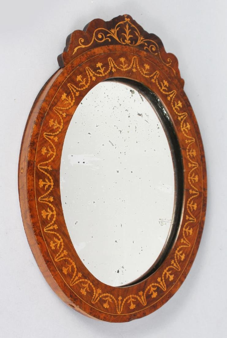 A SMALL 19TH CENTURY INLAID OVAL MIRROR inlaid with