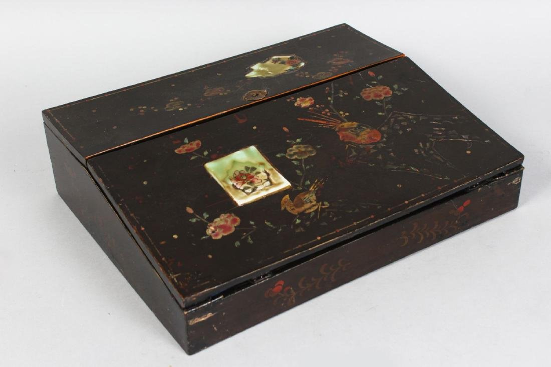A VICTORIAN LACQUERED TABLE DESK, painted with flowers