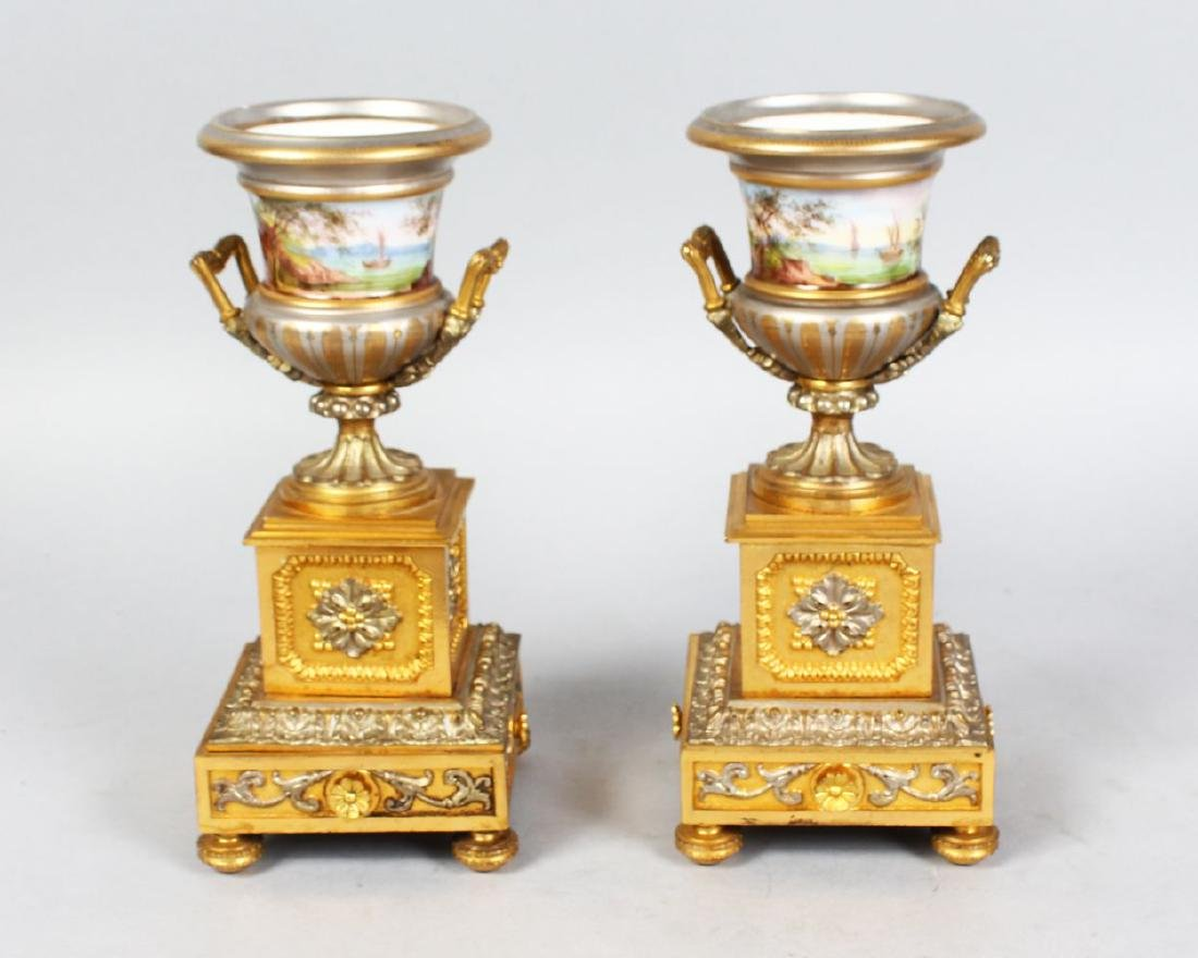 A GOOD SMALL PAIR OF 19TH CENTURY FRENCH PORCELAIN