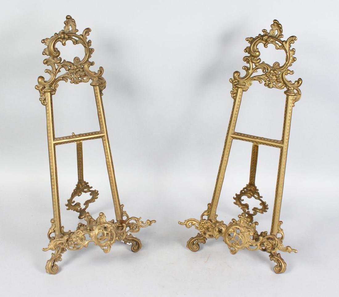 A GOOD PAIR OF FRENCH ORMOLU STANDING EASELS.  21ins