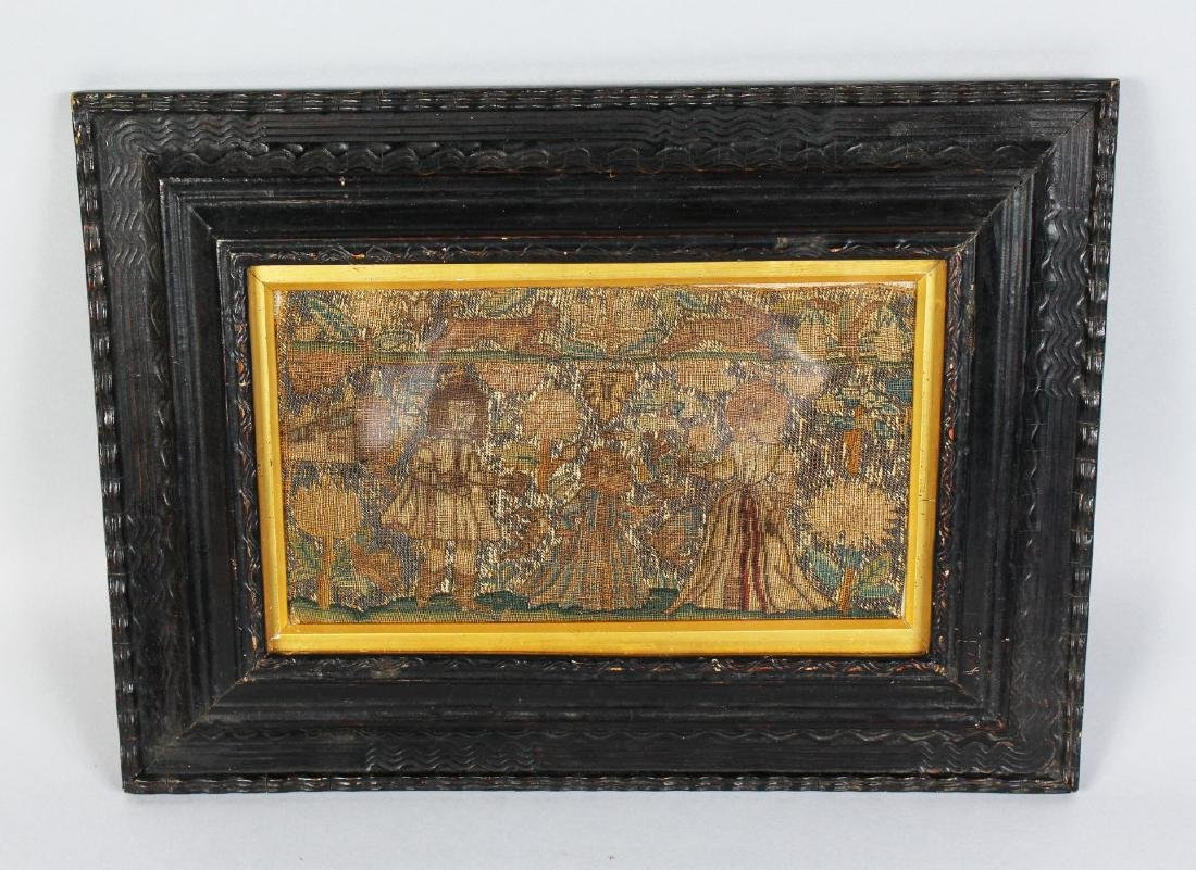 A LATE 17TH CENTURY NEEDLEWORK PICTURE.  King and