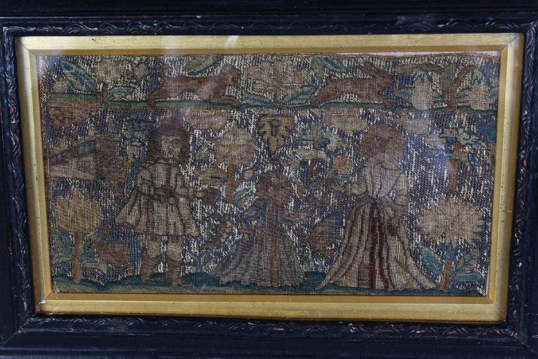 A LATE 17TH CENTURY NEEDLEWORK PICTURE.  King and - 2