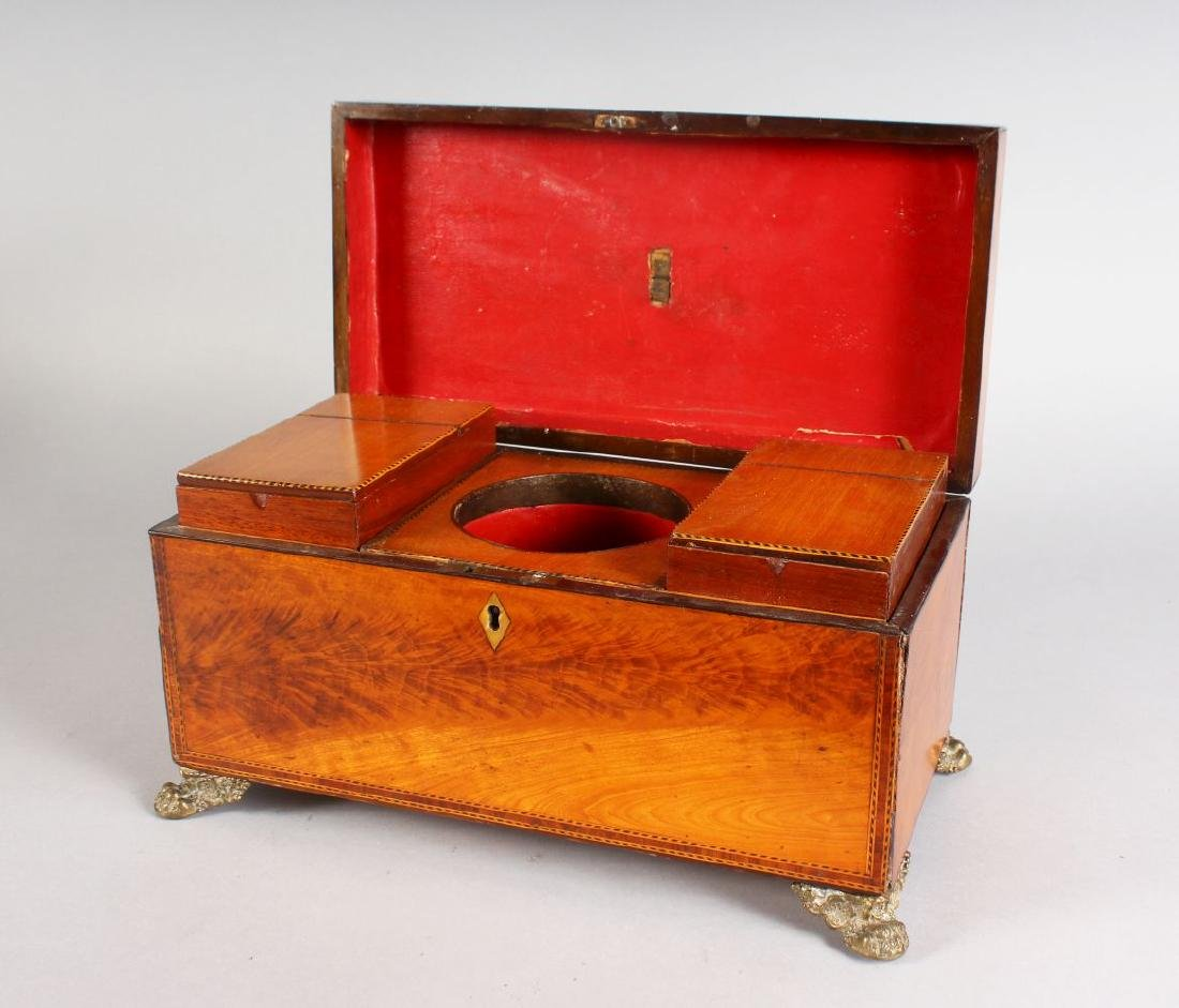 A GEORGE III SATINWOOD TWO-DIVISION TEA CADDY, with two