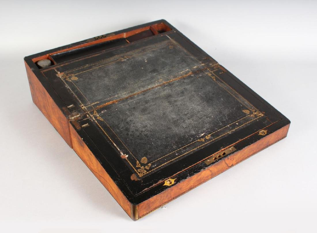 A VICTORIAN FIGURED WALNUT BRASS BOUND TRAVELLING - 2