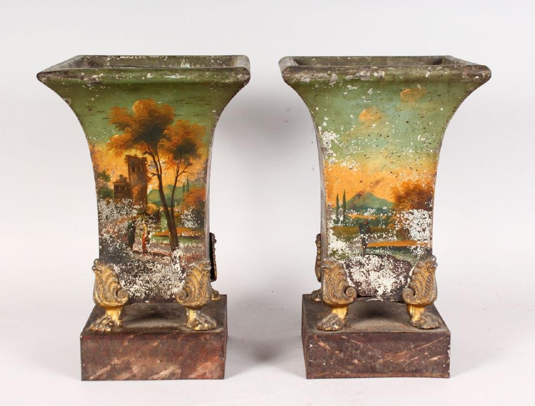 A GOOD PAIR OF TOLE PERIOD SQUARE SHAPED VASES, painted