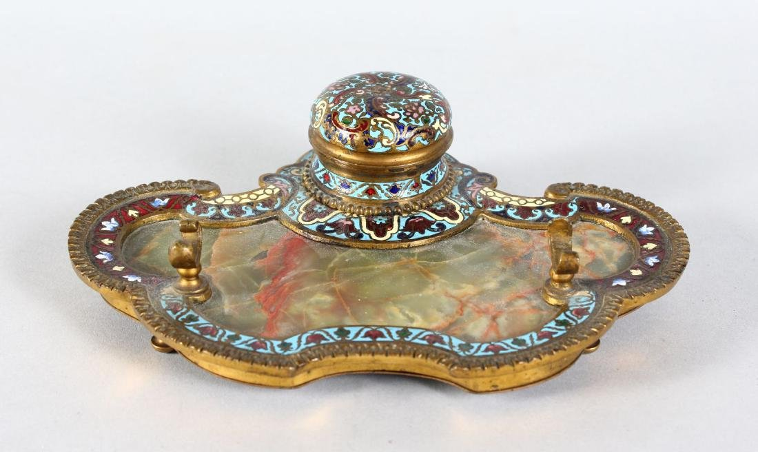 A 19TH CENTURY FRENCH BRONZE AND CHAMPLEVE ENAMEL DESK
