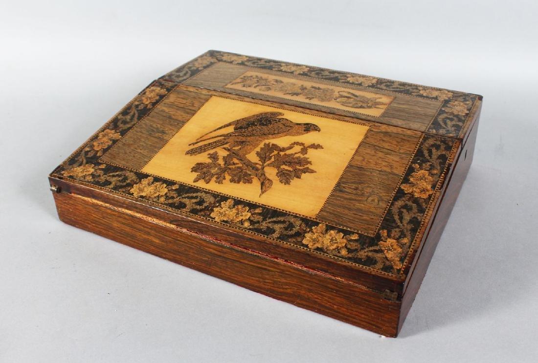 A VICTORIAN ROSEWOOD TUNBRIDGE WARE INLAID TABLE DESK,