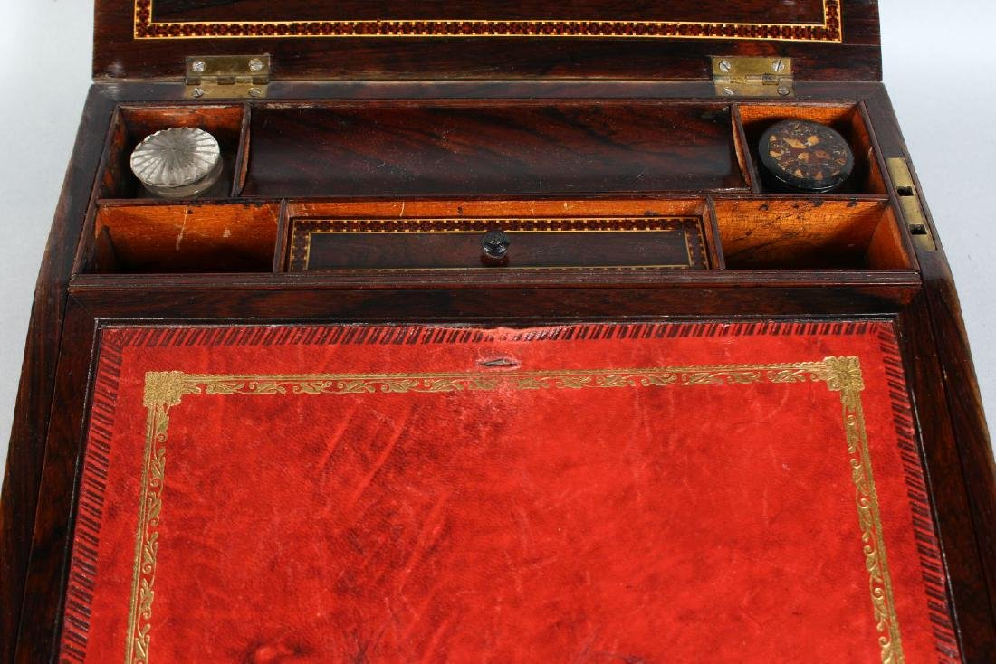 A VICTORIAN ROSEWOOD TUNBRIDGE WARE INLAID TABLE DESK, - 3
