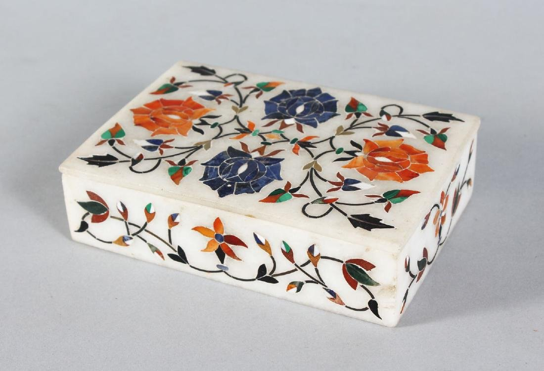 AN INDIAN MARBLE MOSAIC BOX AND COVER.  Signed WAQI